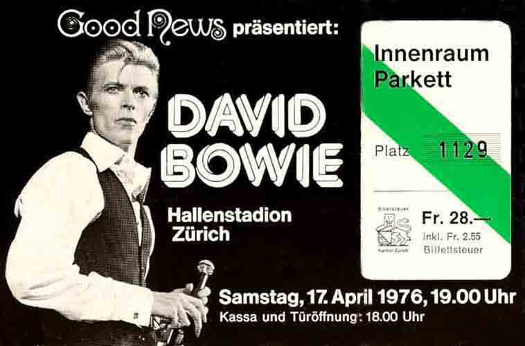 David Bowie — Hallenstadion Zuerich Switzerland — Samstag Saturday 17 April 1976 — Good News