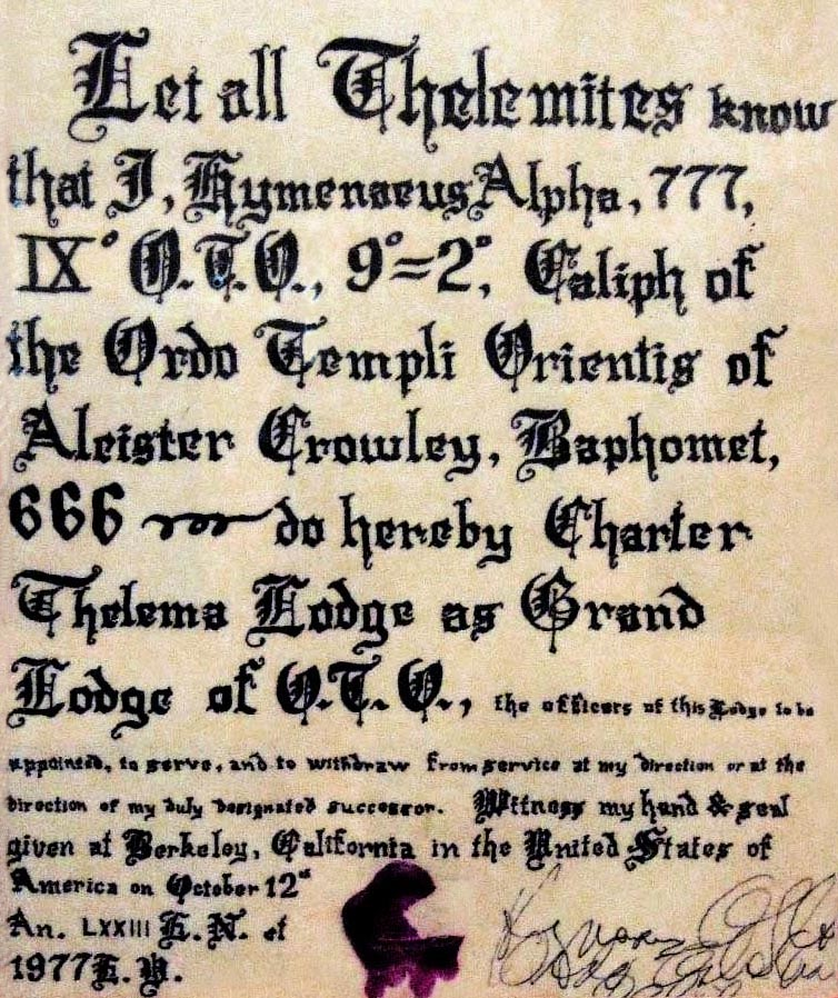 Grand Lodge Grady Louis McMurtry (1918–1985) Thelemites Hymenaeus Alpha, 777 IX° O.T.O., 9=2, Caliph of the Ordo Templi Orientis, Aleister Crowley, Baphomet, 666, Charter Thelema Lodge as Grand Lodge