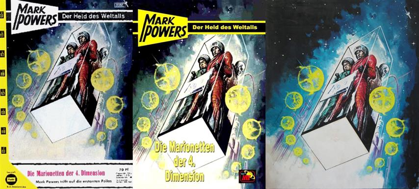 Mark Powers 4, Jay Grams Jürgen Grassmück, Dan Shocker Die Marionetten der 4. Dimension, Erich Pabel Verlag, Rastatt Germany 1963, Cover Rudolf Sieber-Lonati 1924-1990