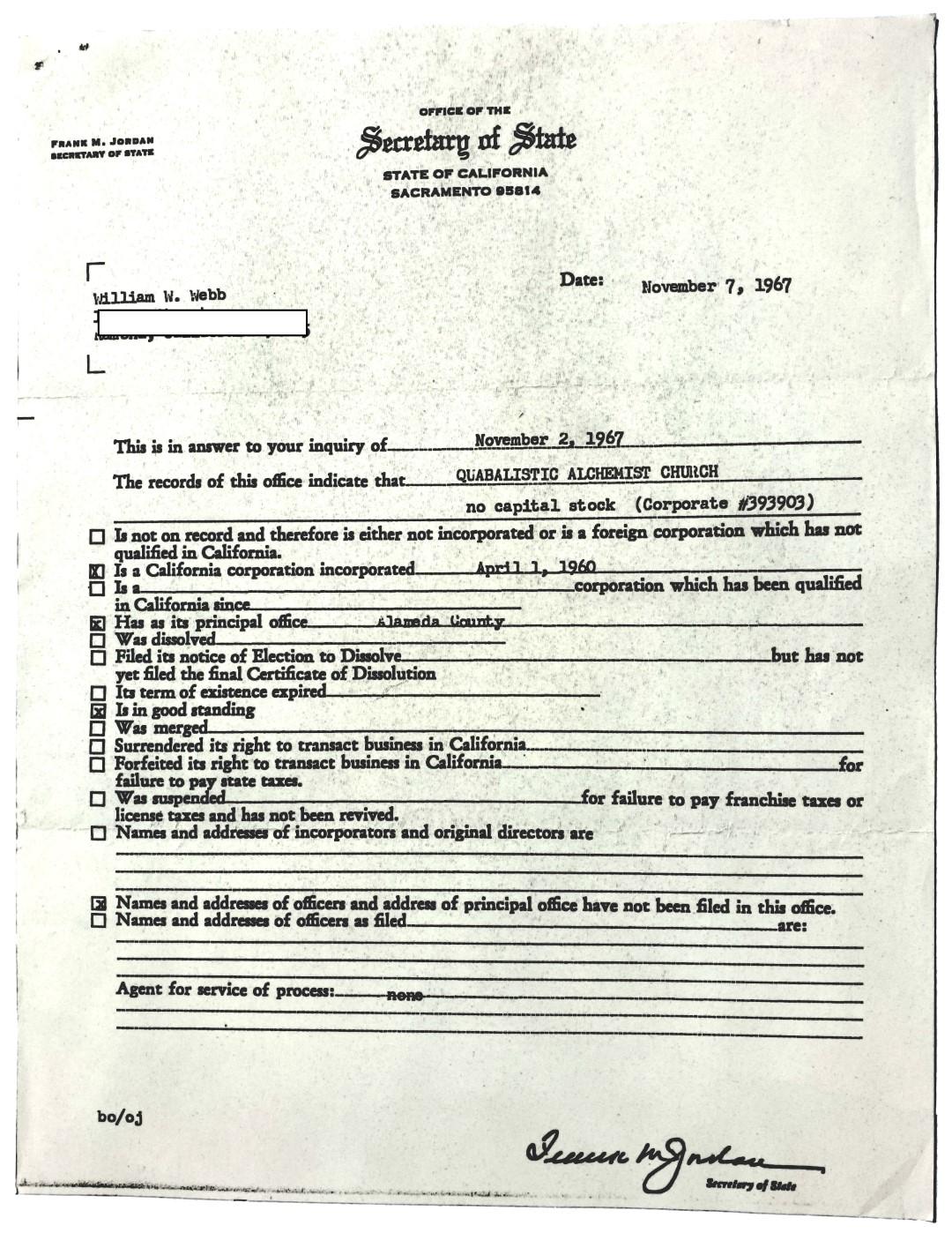 Quabalistic Alchemist Church William Wallace Webb registered
