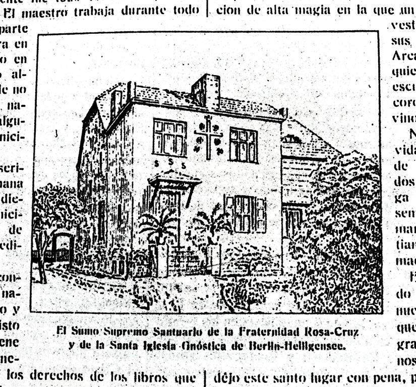 Argenteum Astrum  Arnoldo Krumm-Heller Rosa-Cruz Berlin-Heiligensee Sumo Supremo Santuario de la Fraternitad Rosa-Cruz y de la Santa Iglesia Gnóstica