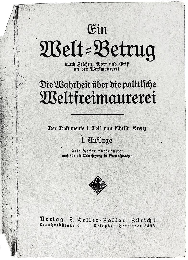 Ernst Theodor Herbert von Bomsdorff-Bergen, Libertas et Fraternitas, Christian [Schweizer]kreuz, Ein Weltbetrug