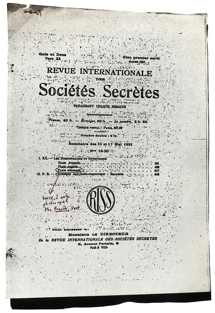 Revue Internationale des Sociétés Secrètes