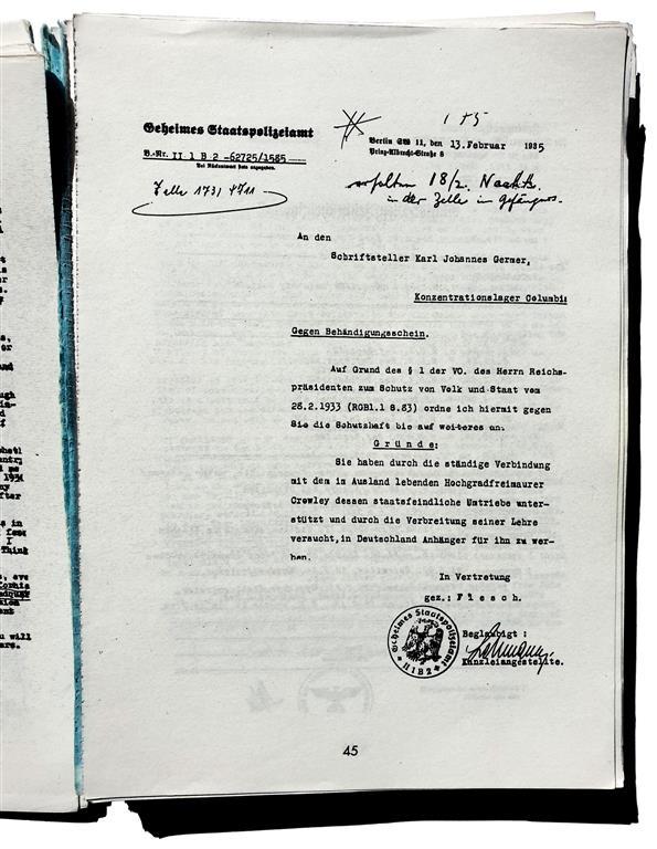 Karl Germer GESTAPO Haftbefehl 13. Februar 1935 Aleister Crowley
