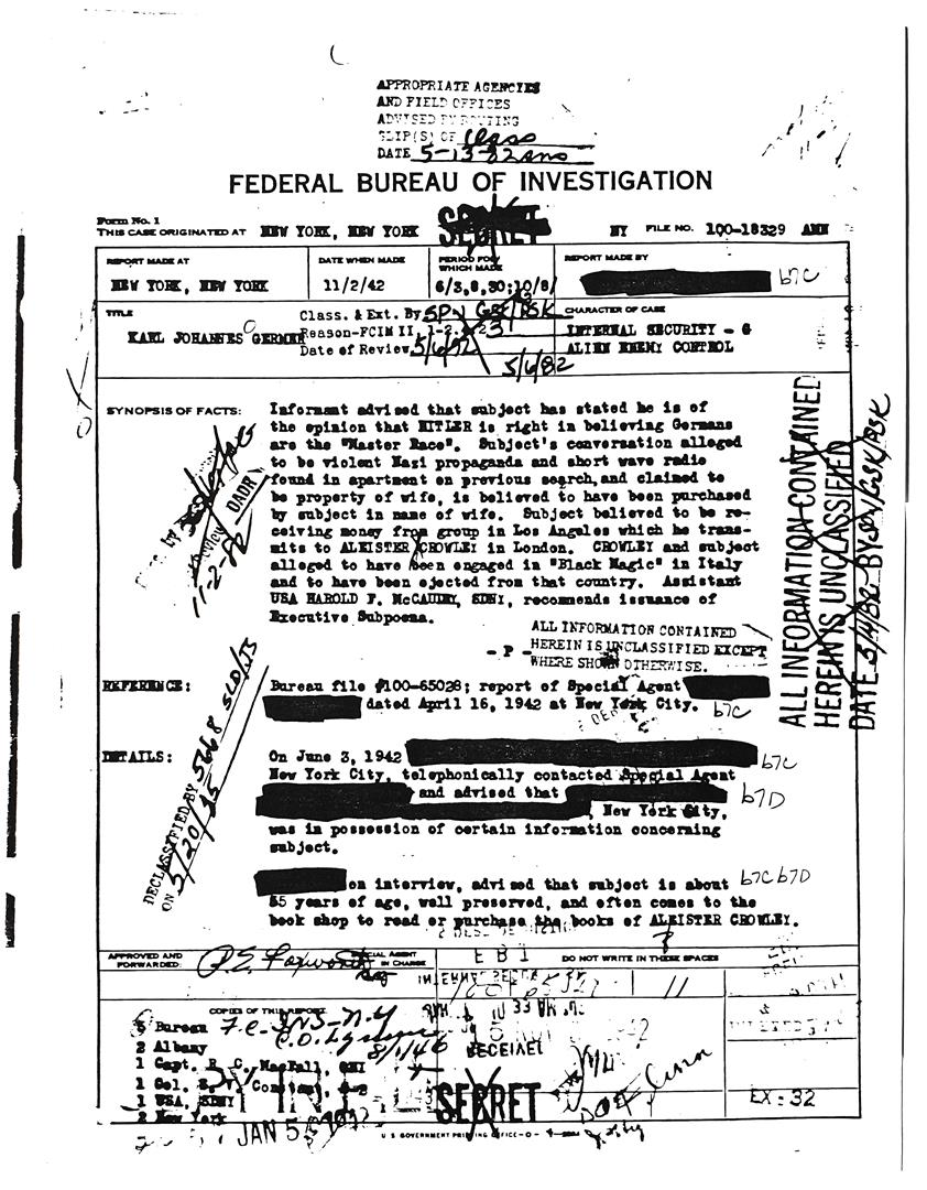 FBI documents on Karl Germer — Master Race