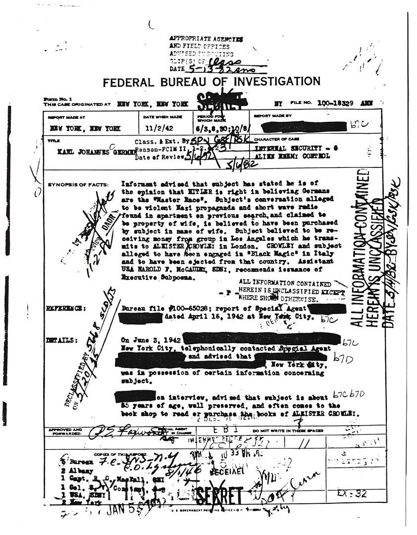 Karl Germer FBI Herrenmensch
