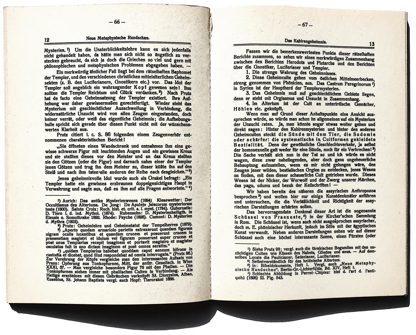 Lanz von Liebenfels — Neue Metaphysische Rundschau — Das Kabirengeheimnis