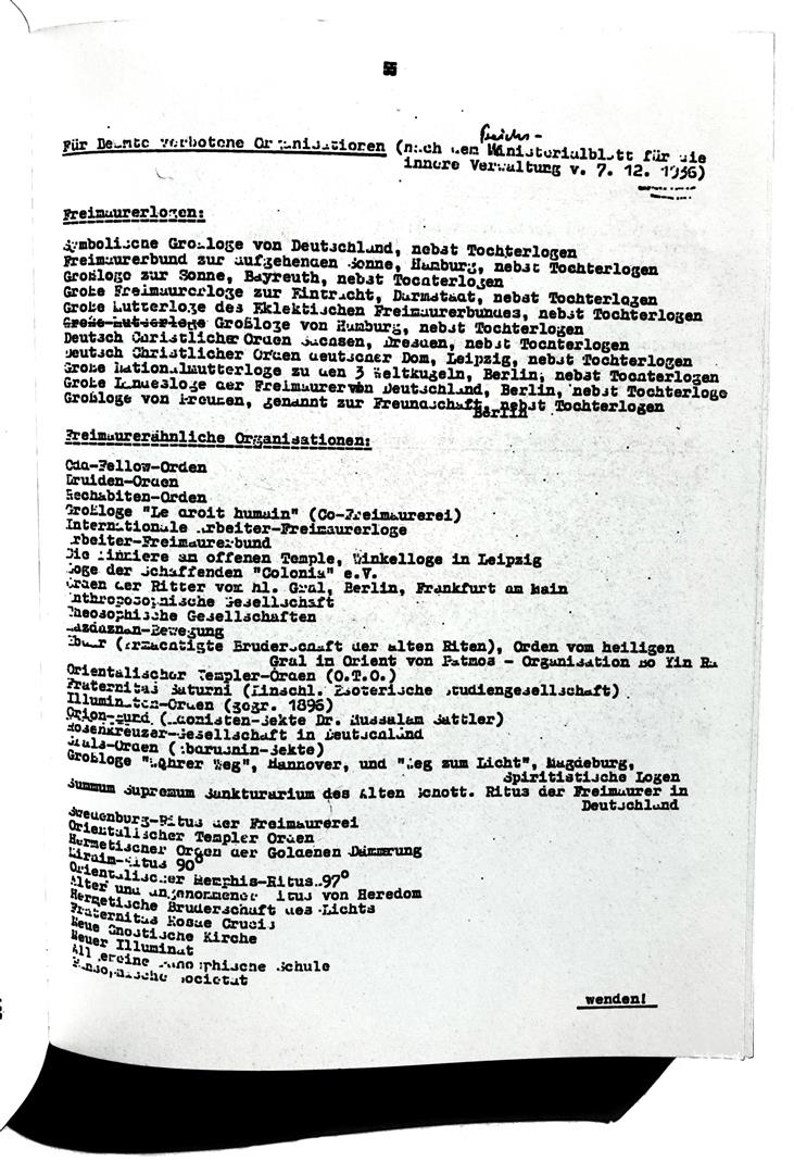 List of the forbidden organizations According the ministeral decree dated 07 December 1936
