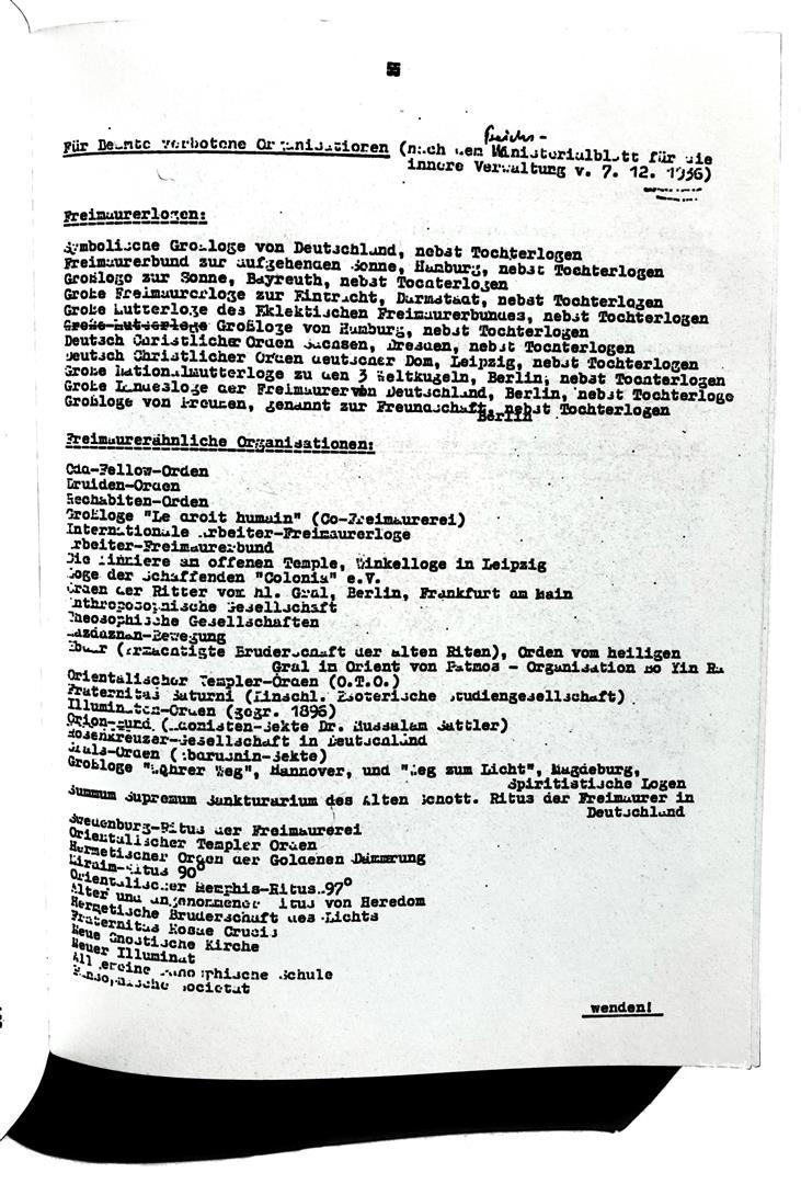 Liste der verbotenen Organisationen 1936