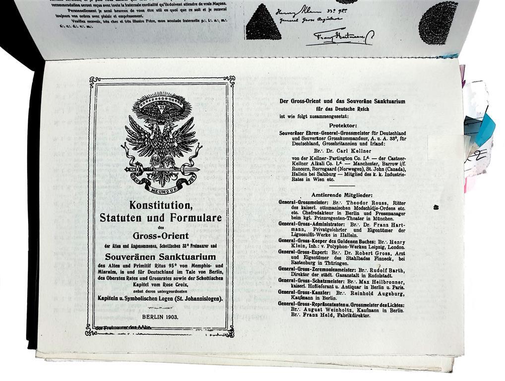 Theodor Reuss + Carl Kellner: 1903 Konstitution Memphis Misraim