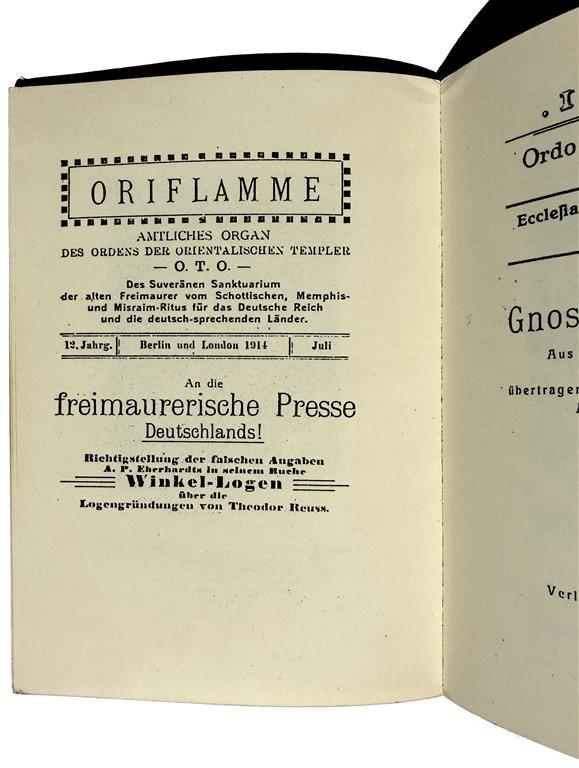 Ordo Templi Orientis Theodor Reuss Oriflamme Amtliches Organ des Ordens der Orientalischen Templer O.T.O. Memphis-Misraim 1914