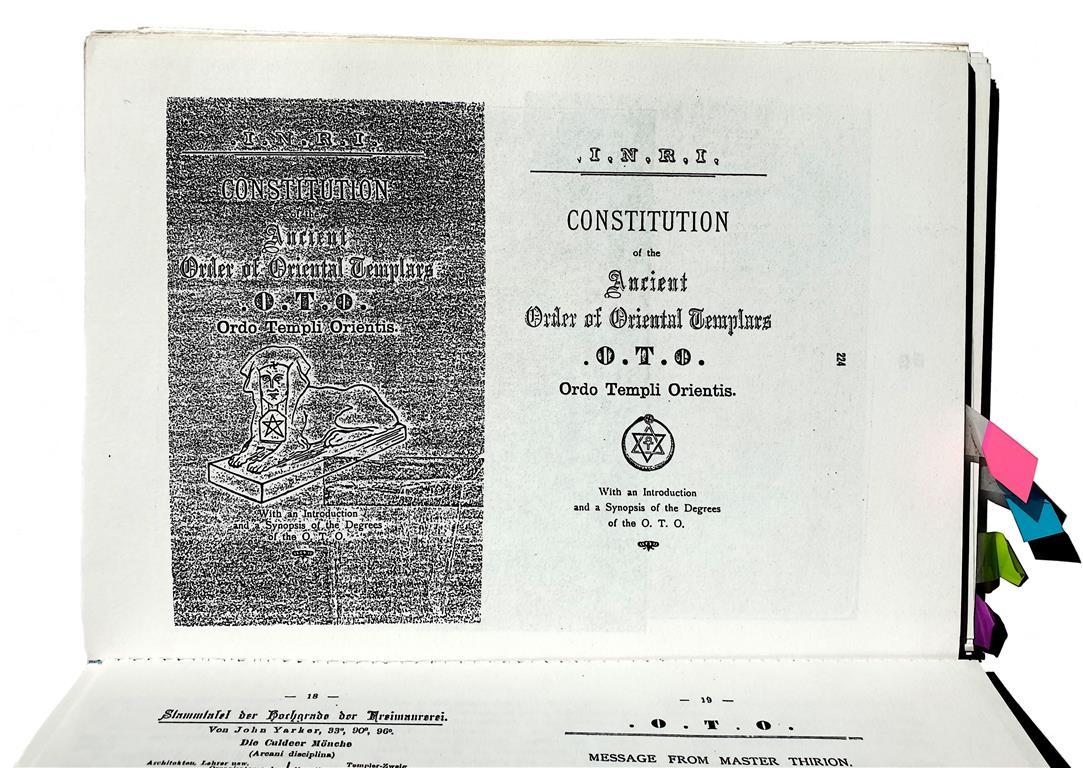 Ordo Templi Orientis, Aleister Crowley, O.T.O., OTO, Gnostic Catholic Church, Theodor Reuss,Theodor Reuss: 1917 Konstitution