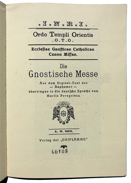 Theodor Reuss Aleister Crowley Gnostische Messe Oriflamme