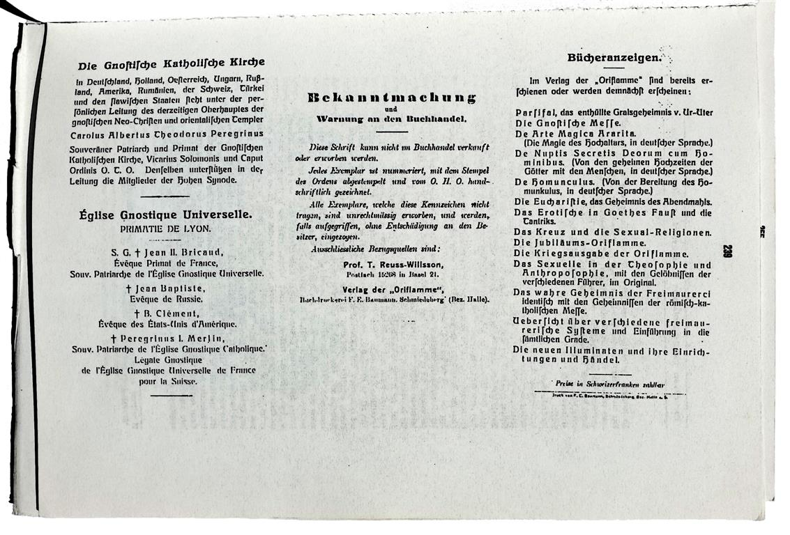 Die Gnostische Messe Theodor Reuss Merlin Peregrinus Aleister Crowley Baphomet INRI Ordo Templi Orientis Ecclesiae Gnosticae Catholicae Canon Missae 1918