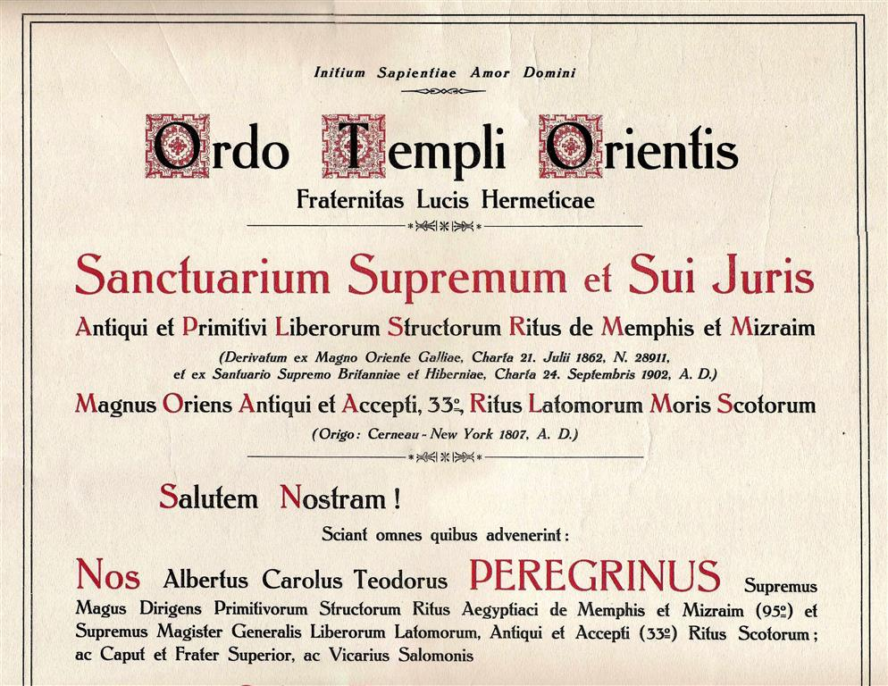 Theodor Reuss Hermetic Brotherhood of Light Ordo Templi Orientis O.T.O. Memphis Misraim