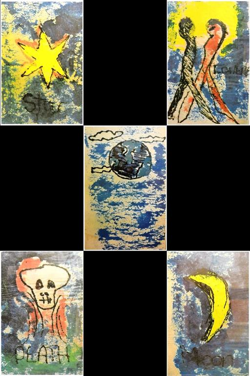 David Bowie Tarot cards 'Love', 'Moon', 'Death' and 'Star' originally produced as Christmas presents for his friends in 1975