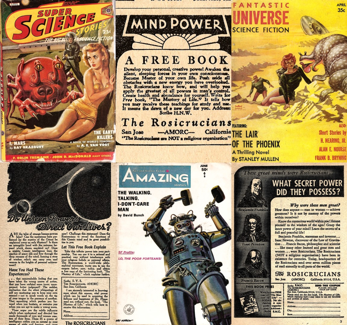 AMORC A.M.O.R.C. American English Pulp Magazine Science Fiction Fantastic Universe Amazin Stories The Rosicrucians Spencer Lewis Antiquus Mysticus Ordo Rosae Crucis or Ancient Mystical Order of the Rosy Cross