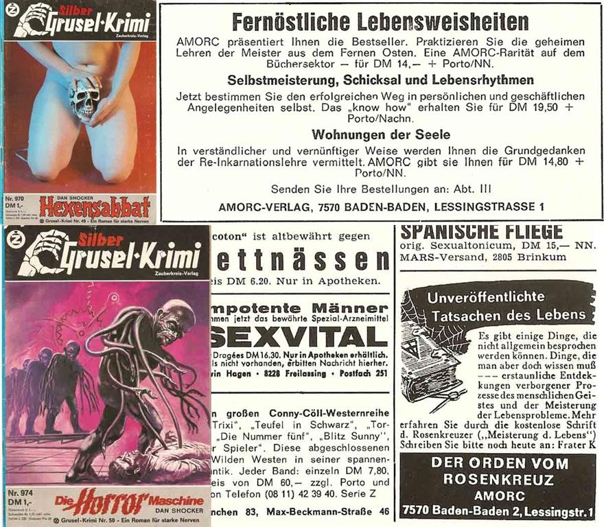 AMORC A.M.O.R.C. Deutsch German Pulp Magazin Silber Grusel-Krimi Dan Shocker Die Rosenkreuzer Spencer Lewis Antiquus Mysticus Ordo Rosae Crucis oder Ancient Mystical Order of the Rosy Cross