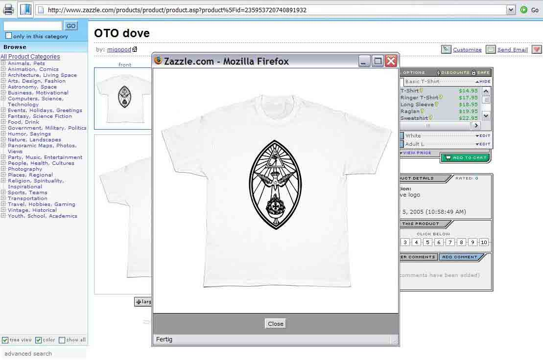 Ordo Templi Orientis O.T.O. Caliphate T-Shirt Lamen Emblem