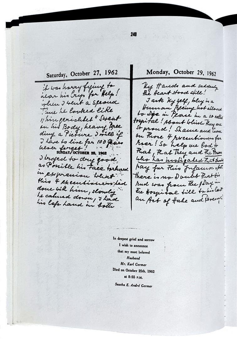 Sascha Germer's diary October 25; 1962; Karl Germer; Saturnus