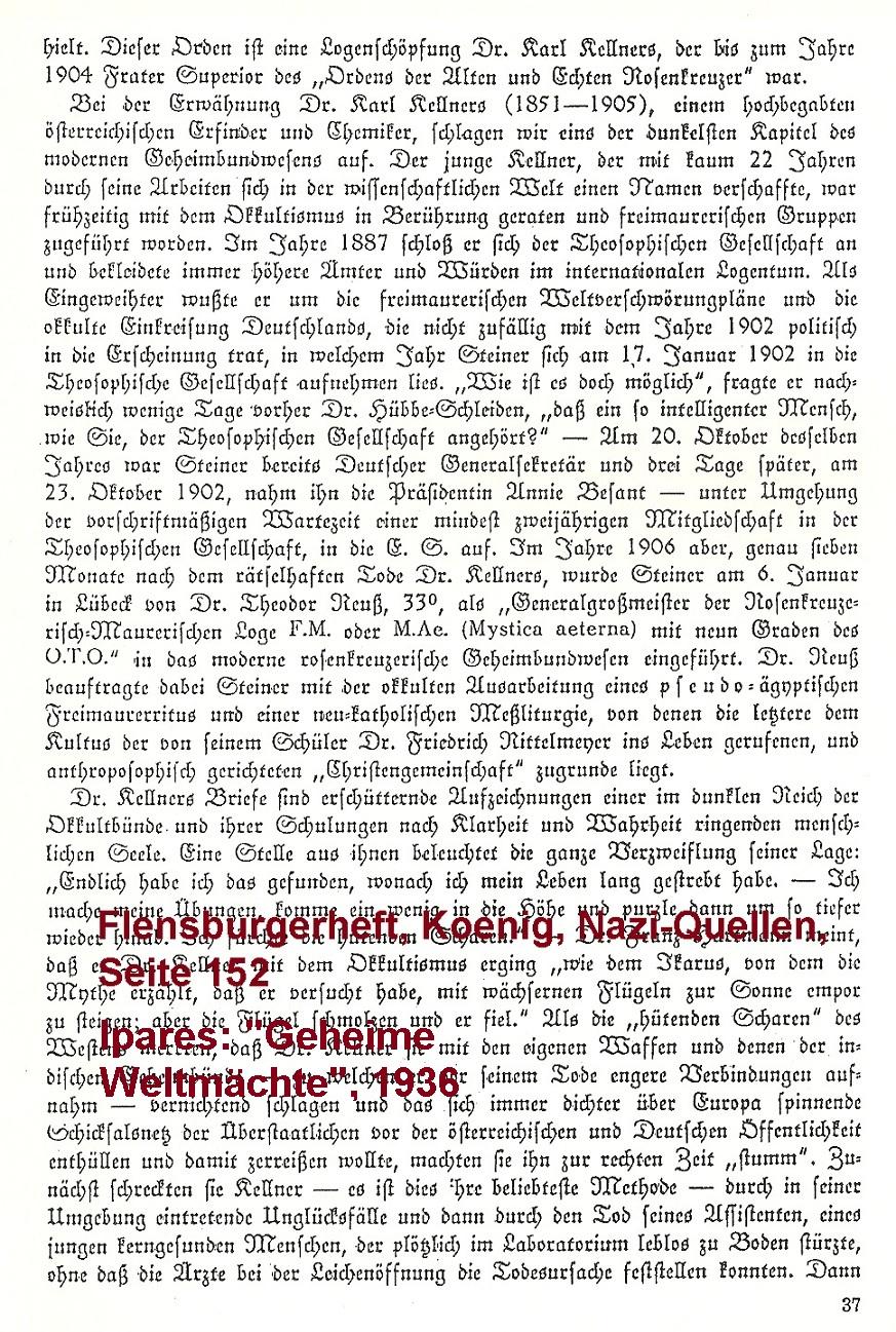 Ipares, Geheime Weltmächte, Rudolf Steiner, Theodor Reuss, Ordo Templi Orientis, O.T.O., Flensburger Heft, Seite 152