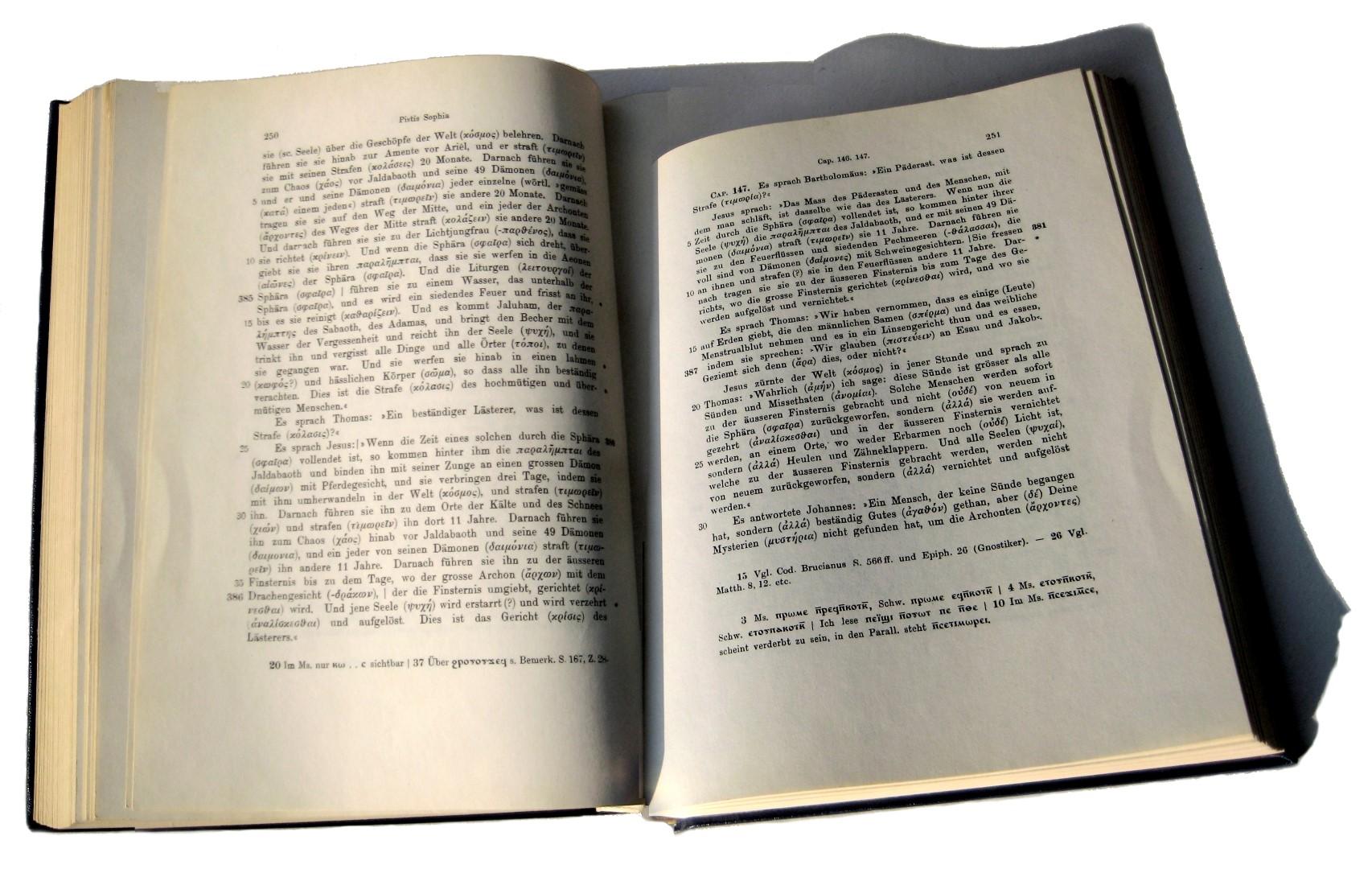 Carl Schmidt, Pistis Sophia, Bücher Jeû, Barbelo, Koptisch–Gnostische Schriften, 1. Band, Leipzig 1905, Il est venu à notre attention, que certaines (personnes) sur cette terre, qui prennent le sperme mâle et le sang menstruel femelle, le met dans un plat de lentilles et le mange.
