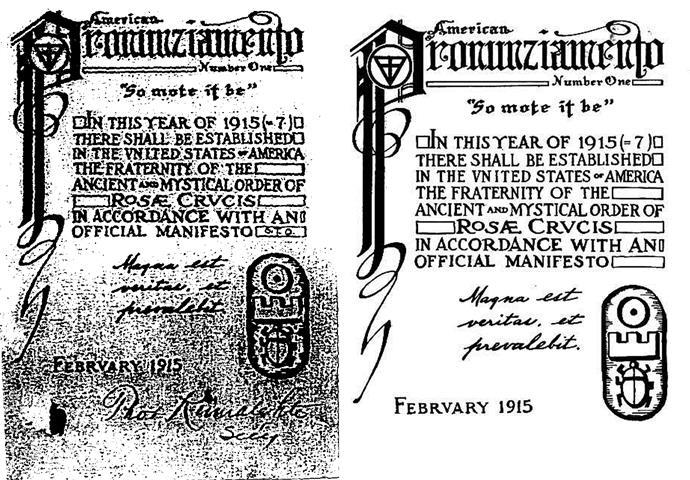 Ordo Templi Orientis A.M.O.R.C Spencer Lewis, Theodor Reuss, Aleister Crowley, Heinrich Traenker, Antiquus Mysticus Ordo Rosae Crucis, Manifesto