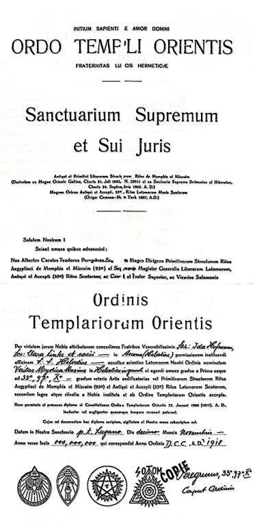 Theodor Reuss Ida Hofmann Clara Linke Ordo Templi Orientis Veritas Mystica Maxima Ordo Templi Orientis Ascona