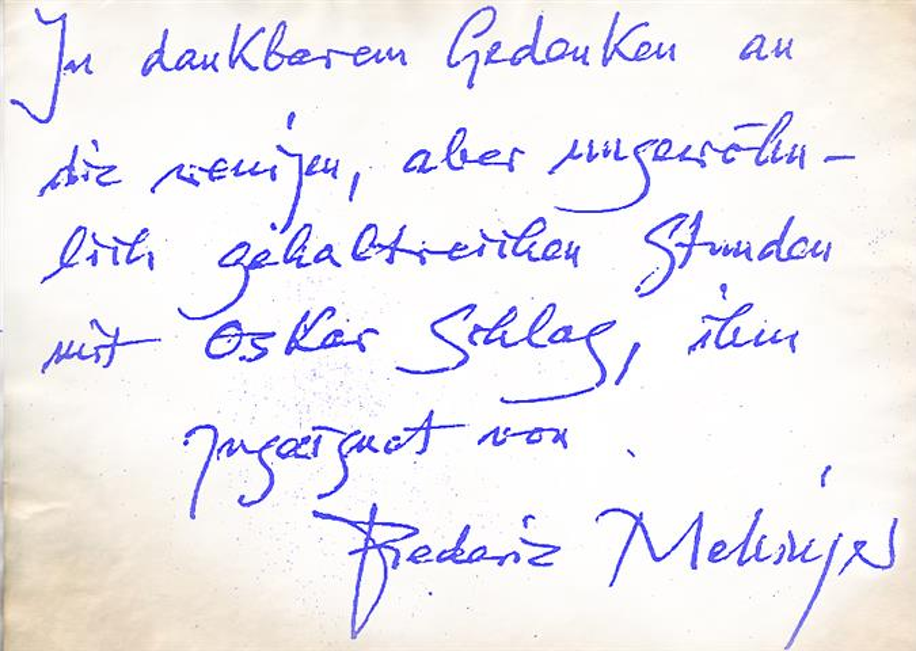 Friedrich Frederic Mellinger to Oscar Schlag