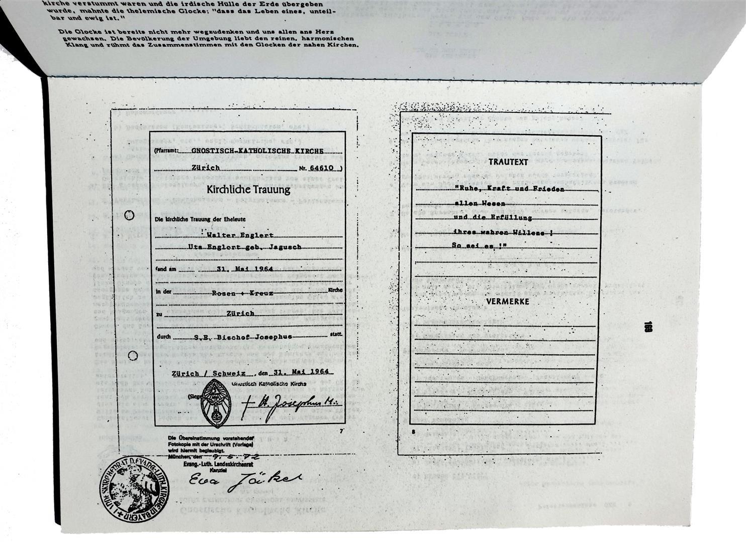 Hermann Joseph Metzger Walter Englert Gnostisch Katholische Kirche Rose und Kreuz Bishop Josephus M+