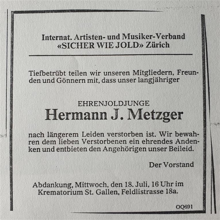Hermann Joseph Metzger O.T.O.
