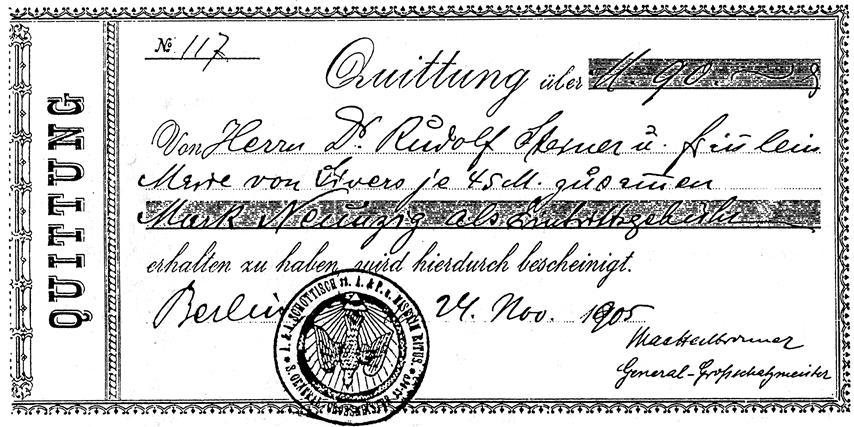 Theodor Reuss' Quittung für Rudolf Steiner und Marie von Sivers Memphis Misraim Schottischer Ritus