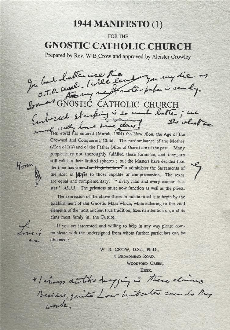 William Bernard Crow Aleister Crowley 1944 Manifesto for the Gnostic Catholic Church