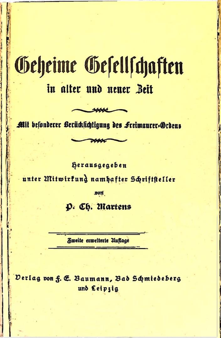P.Ch. Martens, Geheime Gesellschaften, 1924