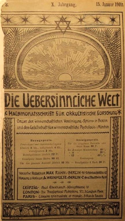 Theodor Reuss — Oriflamme 1902 Issue 0 in Die Übersinnliche Welt