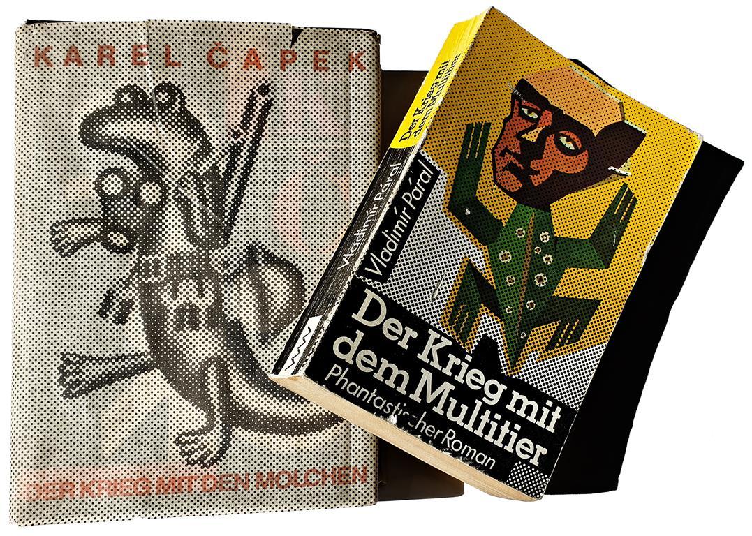 Karel Capek, Der Krieg mit den Molchen (1936), Aufbau Verlag Berlin und Weimar 1987, Illustrationen Hans Ticha. Vladimír Páral, Der Krieg mit dem Multitier (1983), Verlag Volk und Welt, Berlin 1987.