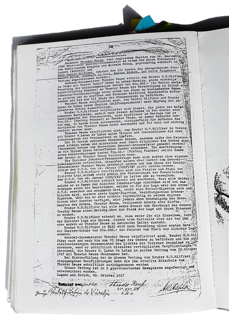 Theodor Reuss Hans–Rudolf Hilfiker Laban de Laban Ordo Templi Orientis 1917