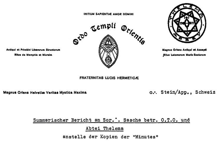 Ordo Templi Orientis Hermann Joseph Metzger Sascha Germer