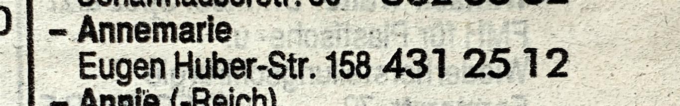 Annemarie Aeschbach Telephone Directory