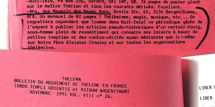 Christian Bouchet, Thelema, Bulletin de l'O.T.O. en France, VIII;26, Château Thébaud, 1991