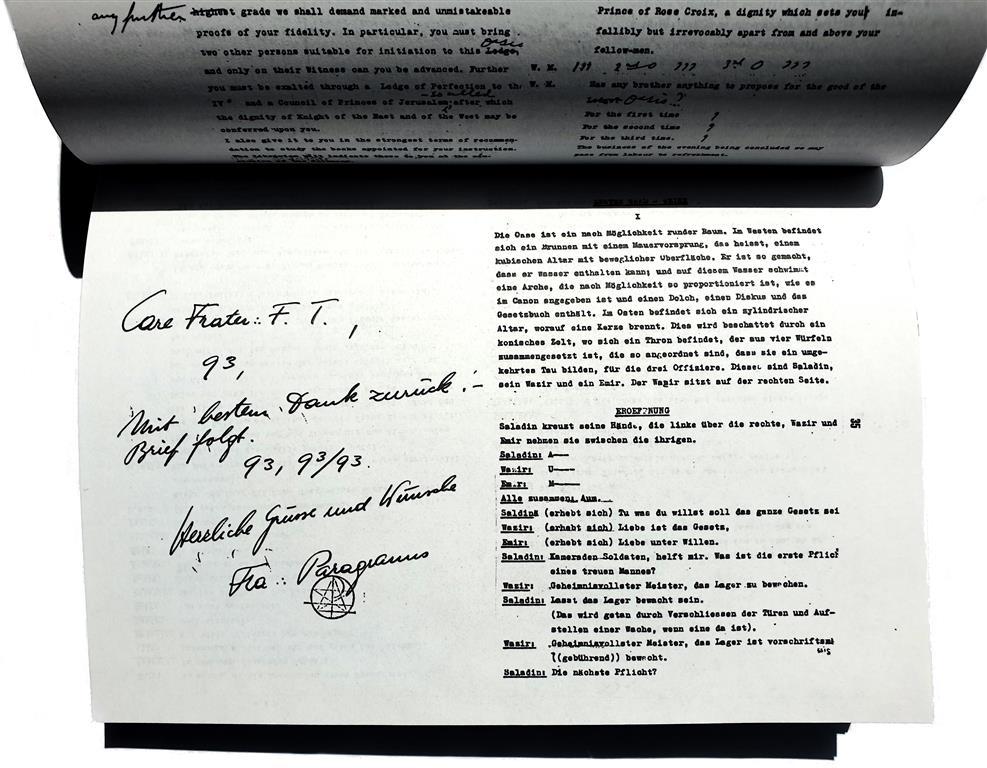 Carl Heinz Petersen Fines Transcendam Kâlikânanda Hermann Joseph Metzger Paragranus Aleister Crowley Ordo Templi Orientis O.T.O. Rituale rituals Abramelin