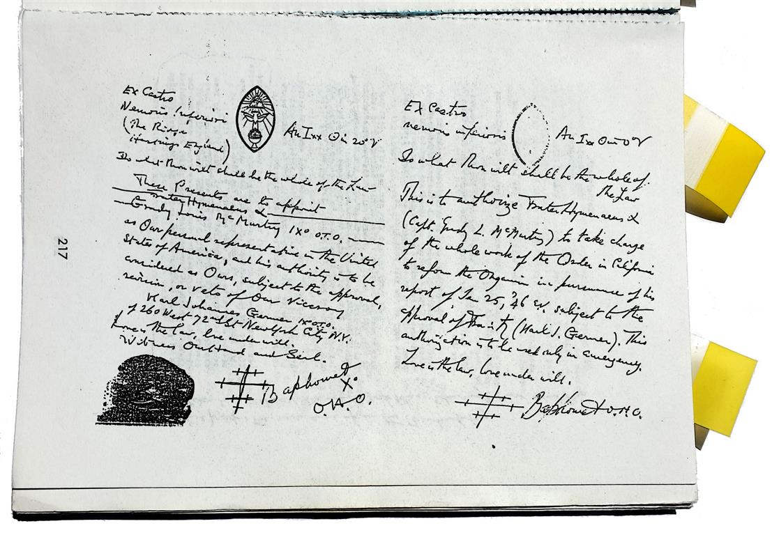 Grady Louis McMurtry, Hymenaeus Alpha, Ordo Templi Orientis, Aleister Crowley, Caliphate letters