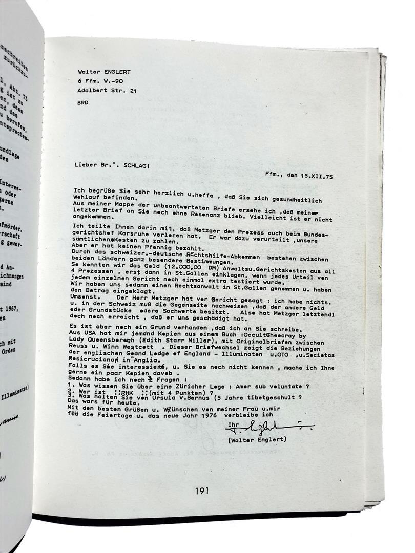 Walter Englert to Oscar Schlag about Hermann Joseph Metzger