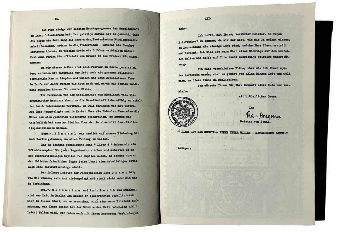 Constitution of the Fraternitas Saturni, Published Aims of the Lodge, Master Therion, Aleister Crowley, Eugen Grosche, Gregor A. Gregorius, closing of the Pansophic Lodge of the Light-seeking Brethren of the Orient Berlin, Heinrich Traenker, Recnartus
