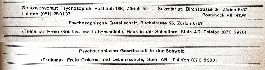 Genossenschaft Psychosophia, Thelema Freie Geistes- und Lebensschule Stein Appenzell Psychosophische Gesellschaft, Haus in der Schedlern, Ordo Templi Orientis