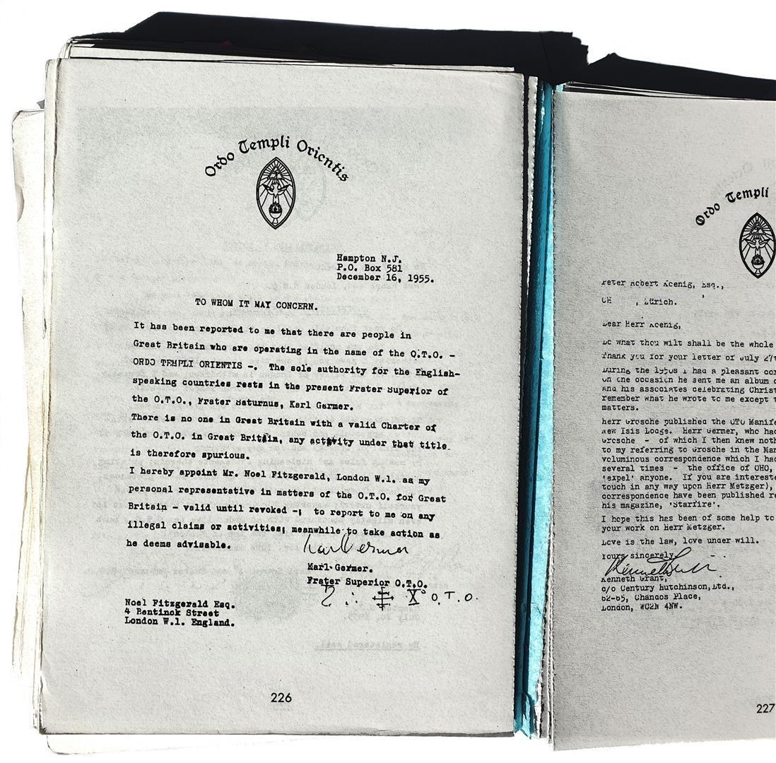 Karl Germer Kenneth Grant Note of Expulsion 1955 Ordo Templi Orientis