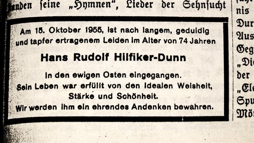 Hans Rudolf Hilfier-Dunn Todesanzeige Hermann Joseph Metzger