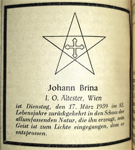 Johann Brina Order of Illuminati Weltbund der Illuminaten Ordo Illuminatorum Illuminaten Orden