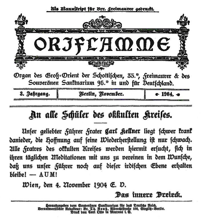 Oriflamme Theodor Reuss Organ des Gross-Orient der Schottischen, 35°, Freimaurer & des Souveränen Sanktuarium 95.° in und für Deutschland. Carl Kellner