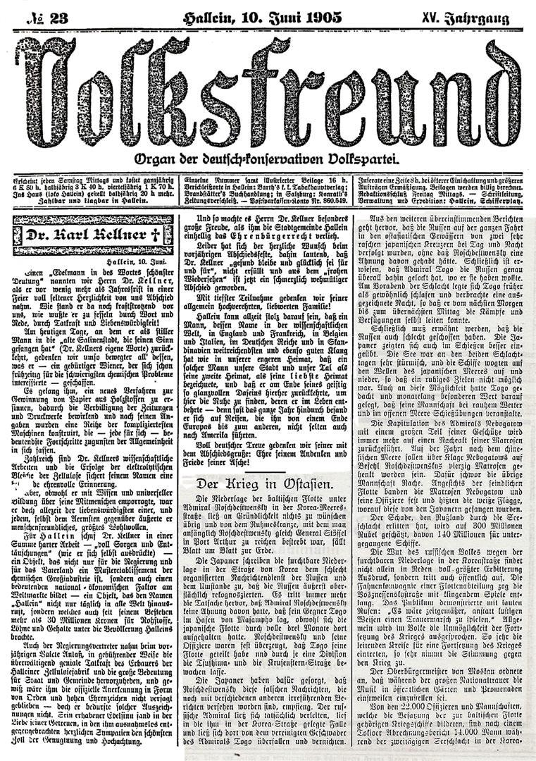 Volksfreund 1905 Juni 10 Carl Kellner